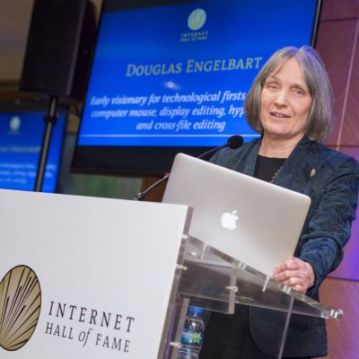 Christina Engelbart accepts on behalf of Douglas Engelbart