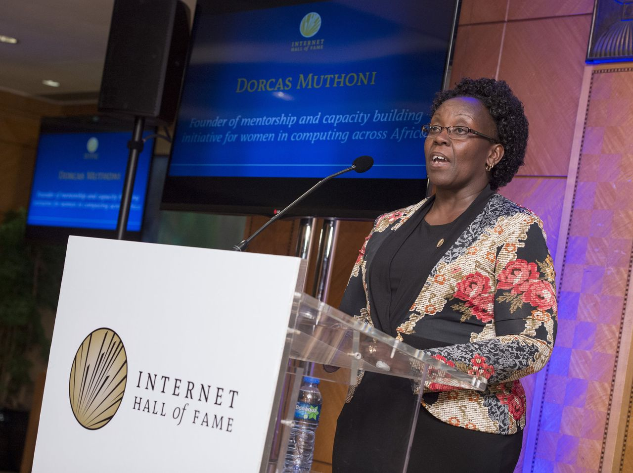 Irene Misoi accepts on behalf of Dorcas Muthoni