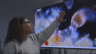 Student Watches Microorganisms Long-distance